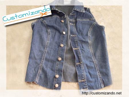 Customizando um colete jeans