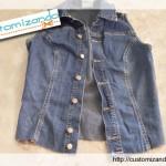 Customizando um colete jeans com renda e tachinhas