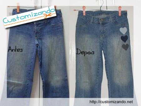 Customização de calça jeans sem costura - Antes e Depois