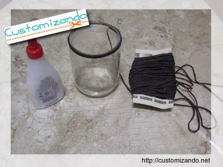 Customizando vaso com barbante