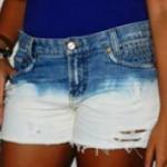 O short descolorido era uma calça jeans
