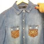 Customizando camisa jeans com estampa de oncinha