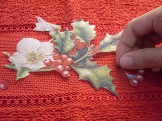 Toalha customizada com guardanapo para o natal