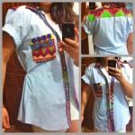 Customização de camisa masculina com estampa étnica (para mulheres)