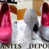 Customização de sapato com glitter