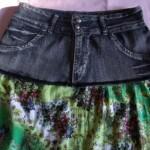 Como fazer saia usando calça jeans e vestido