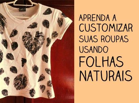 Customizar camiseta com folhas