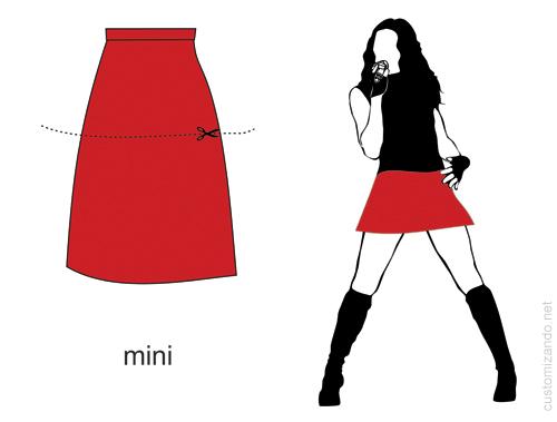 Tipos de cortes para customizar saia longa