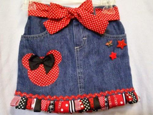 Inspiração: Minnie Mouse - saia jeans