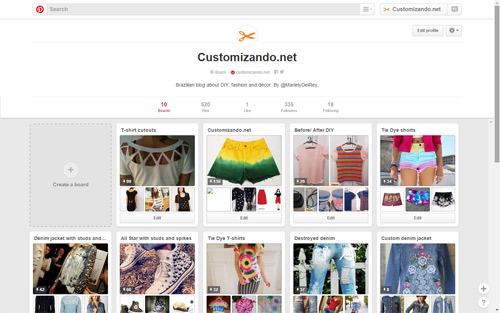 Customizando no Pinterest