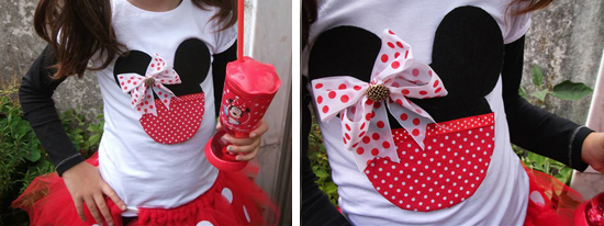 Roupa customizada com tema Minnie