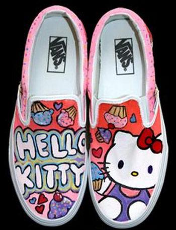 Inspiração Hello Kitty - tênis Vans customizado