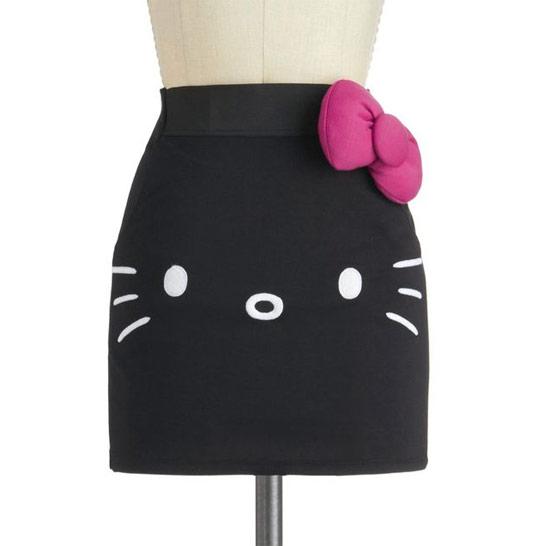Inspiração Hello Kitty - saia preta feminina