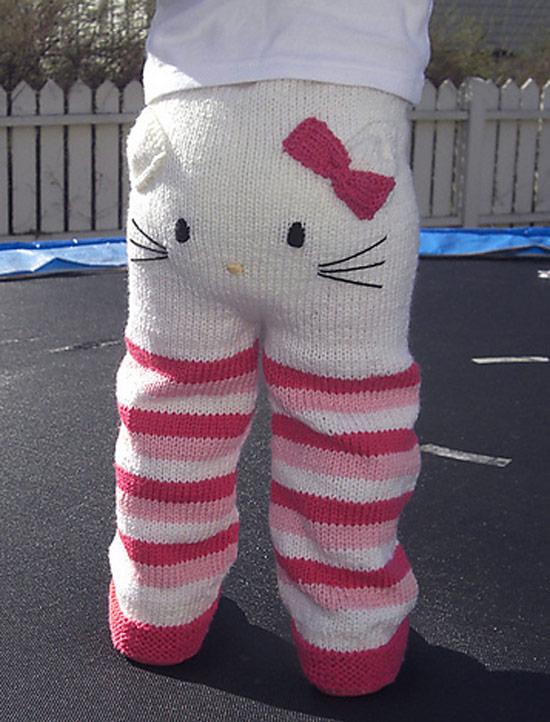 Inspiração Hello Kitty - calça infantil de tricô