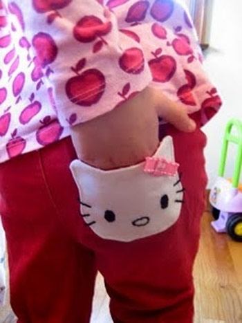Inspiração Hello Kitty - bolso calça infantil