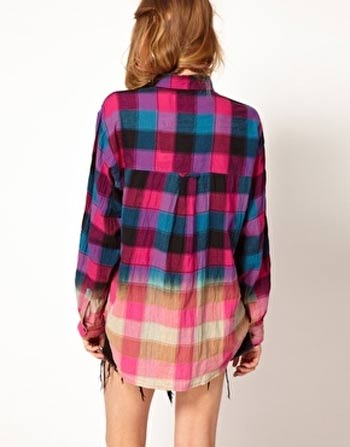 Camisa xadrez customizada descolorida