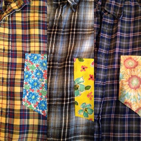 Camisa xadrez customizada com bolso de chita