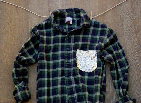 Camisa xadrez customizada com bolso de paetês