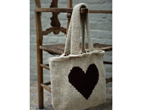 Inspiração coração - sacola de tricô