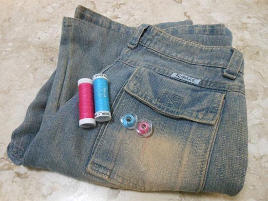 Customizando bolso da calça jeans com ponto decorativo