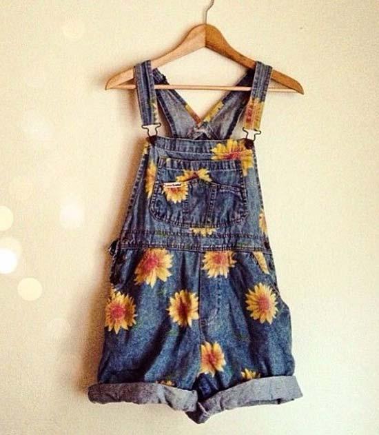 Inspiração: girassol - jardineira jeans