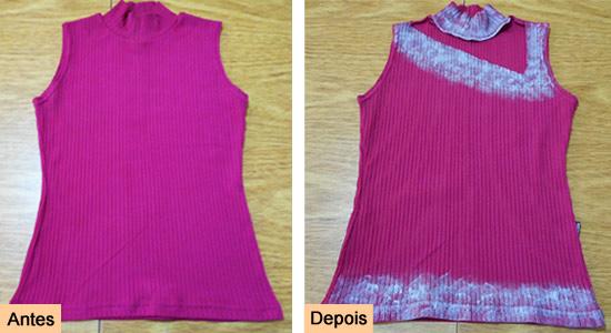Customizar blusinha decote assimétrico - antes e depois