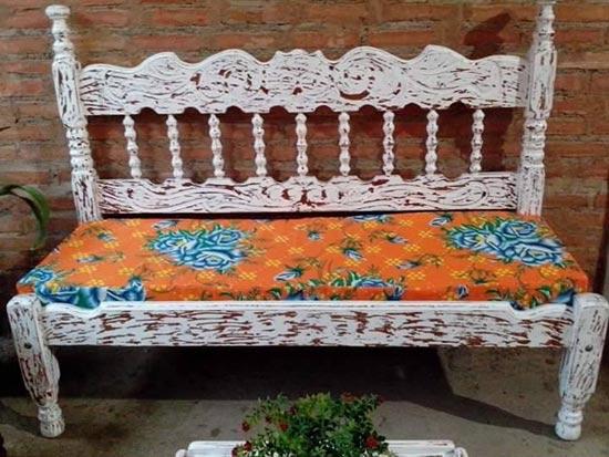 Como fazer banco com cama antiga customizando blog de for Banco de plastico para jardin