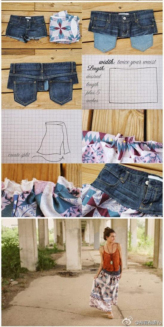 Como fazer saia longa a partir de um short jeans
