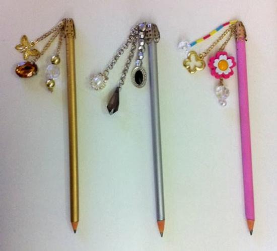 DIY Lápis com pingentes