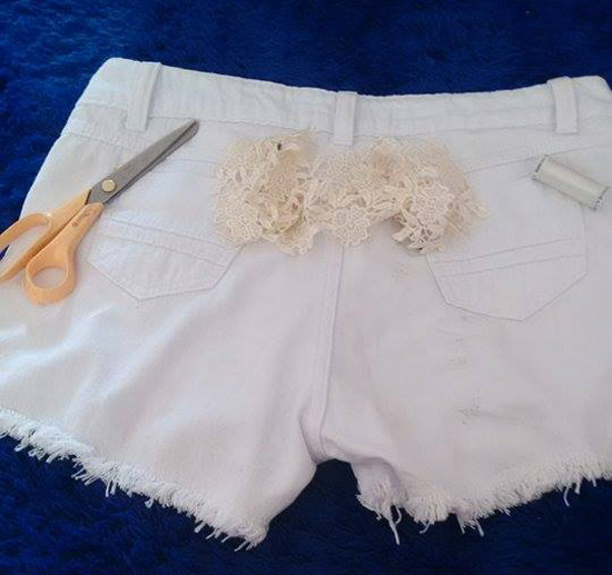 Customizar short branco